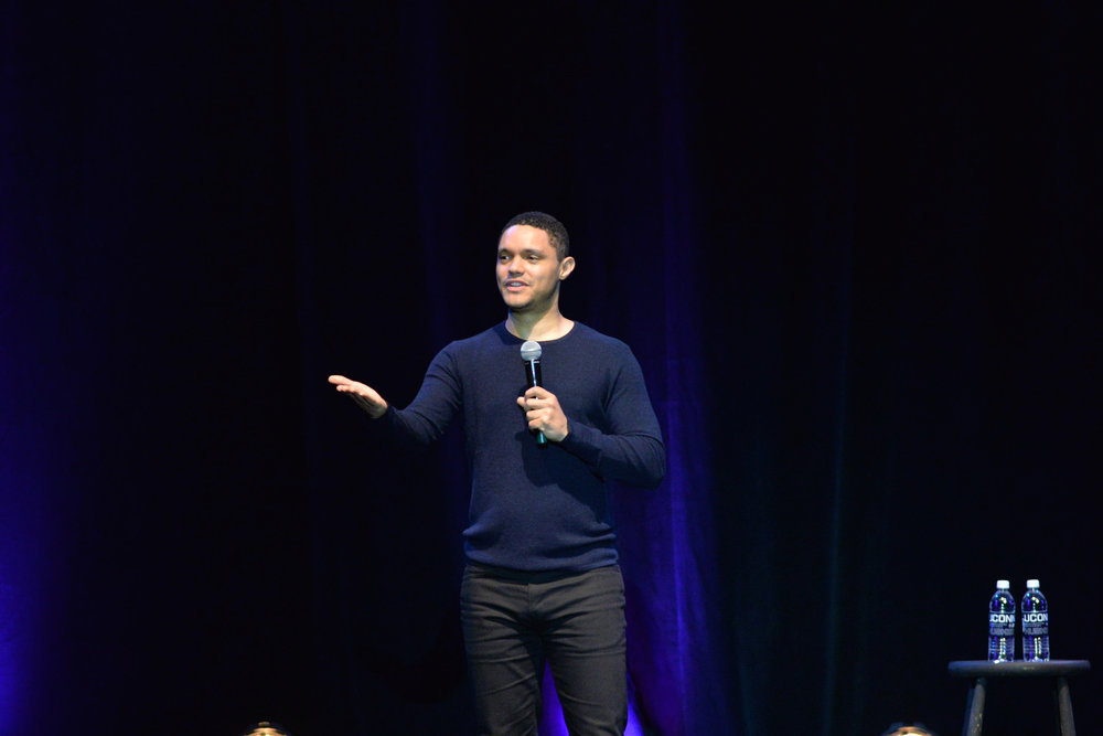 Trevor Noah has the audience in stitches in Jorgensen on Saturday, April 1, 2017. Noah is the current host of the Daily Show. (Amar Batra/The Daily Campus)