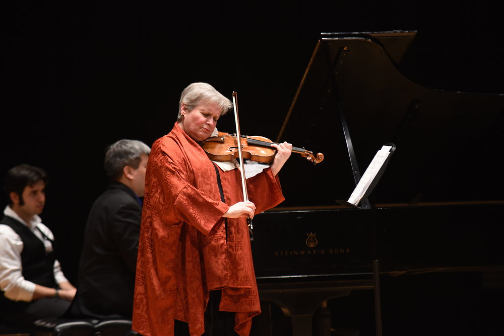 "Julie Rosenfeld performs ""New Works for Violin and Piano"" in von der Mehden on Friday, March 31 with pianist Peter Miyamoto. (Charlotte Lao/The Daily Campus)"