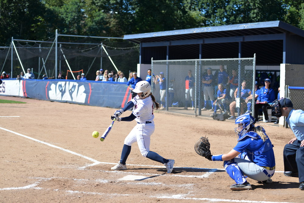 A three-game series was originally scheduled for UConn softball this past weekend at Burrill Family Field, but poor conditions led to a relocation. The Huskies split the series. (Amar Batra/The Daily Campus)