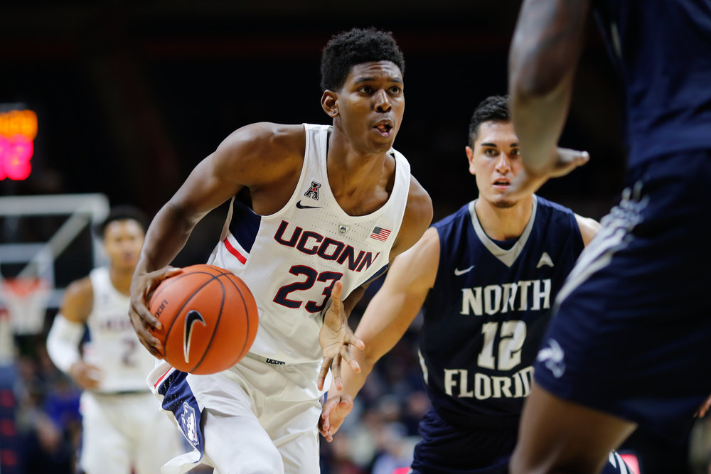 UConn' Juwan Durham drives to the hoop against North Florida. (Jackson Haigis/The Daily Campus)