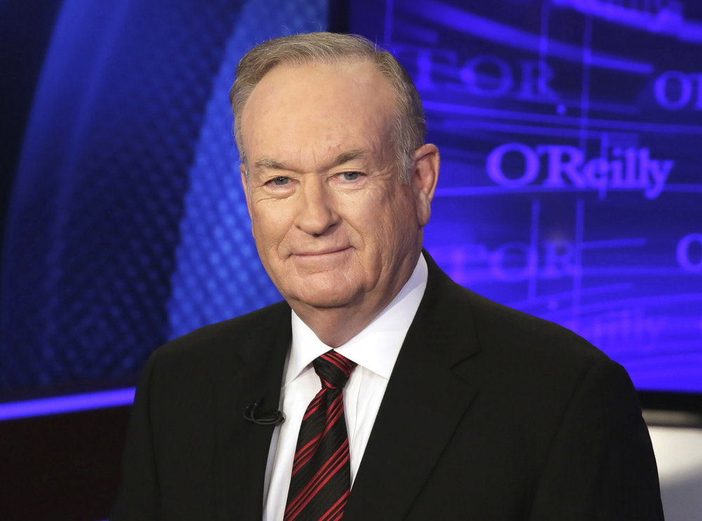 "In this Oct. 1, 2015 file photo, Bill O'Reilly of the Fox News Channel program ""The O'Reilly Factor,"" poses for photos in New York. O'Reilly didn't discuss harassment allegations detailed against over the weekend in his first show back at work, Monday, April 3, 2017."