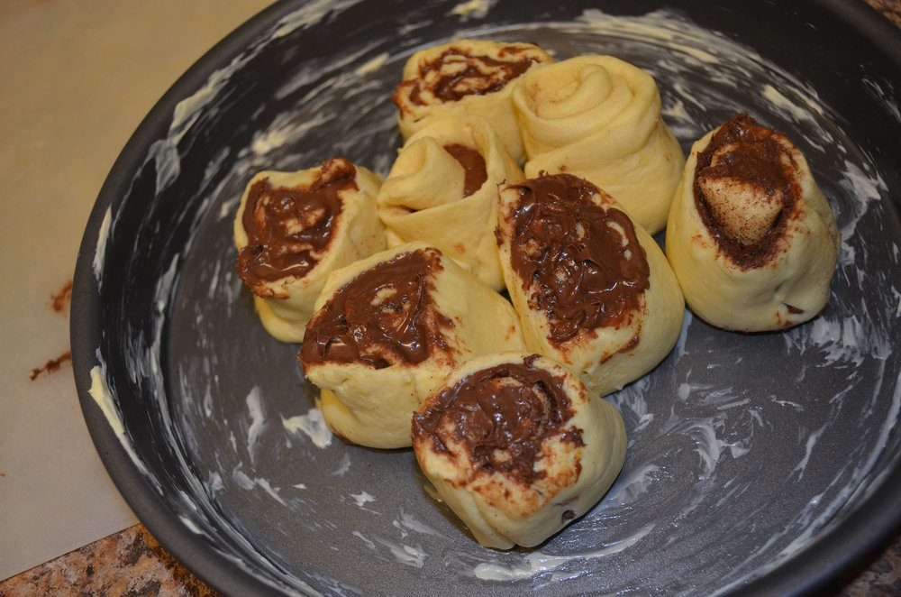 The beginning stages of making Nutella cinnamon rolls with crescent roll dough.  (Claire Galvin/The Daily Campus)