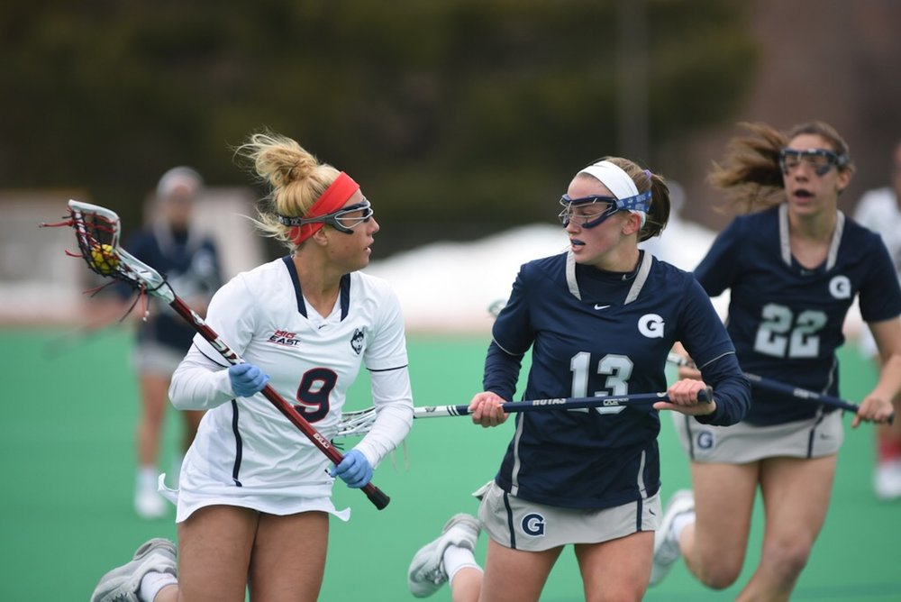 The women's lacrosse team loses to the Georgetown Hoyas 14-6 on March 25, 2017 bringing their record to 3-6. Their next game is away against Denver. (Charlotte Lao/The Daily Campus)