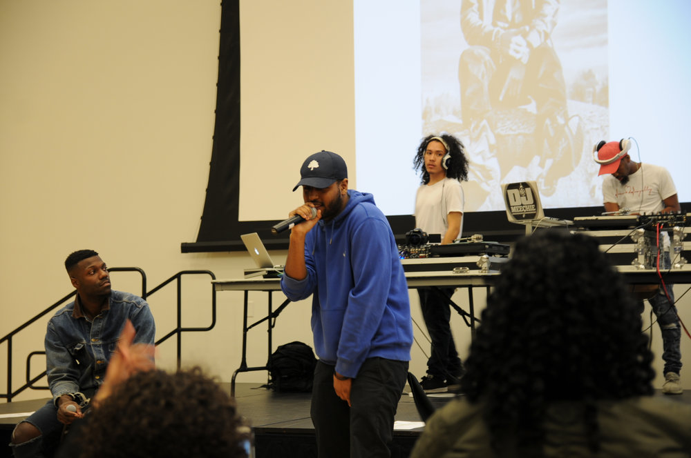Students and up-and-coming rappers participate in a rap battle during SUBOG's '4 The Kulture' event in the Student Union Ballroom on Tuesday, April 4, 2017. (Shyam Patel/The Daily Campus)