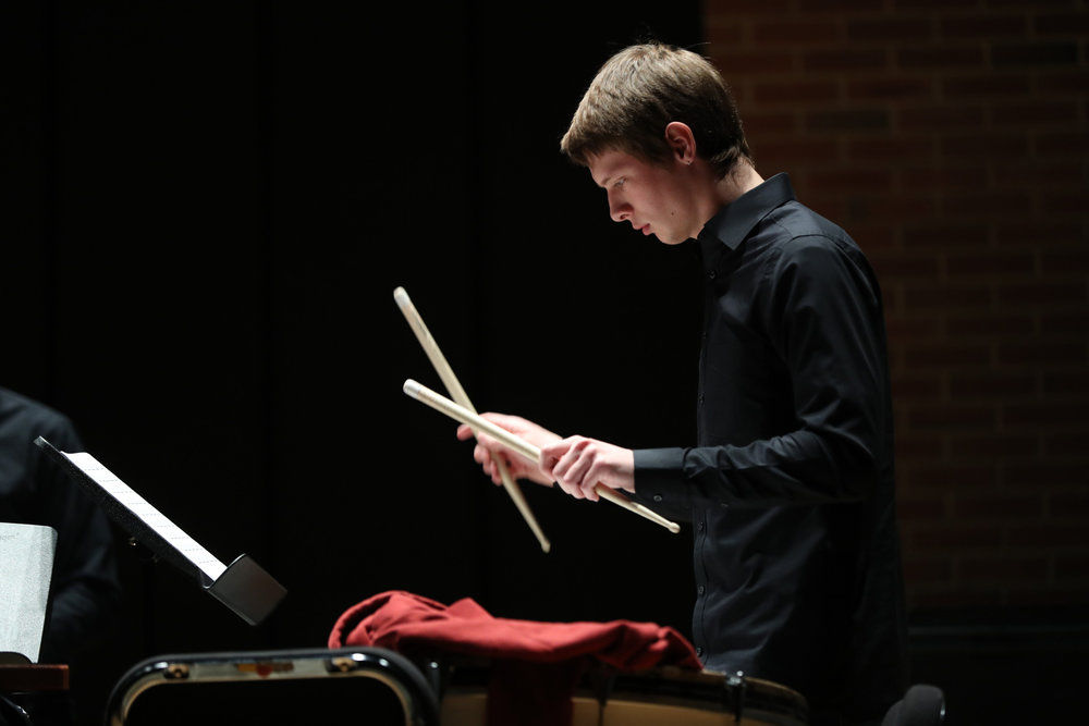 The UConn Percussion Ensemble, directed by Robert McEwan, performs their spring concert in Von der Mehden Recital Hall in Storrs, CT on Tuesday, April 4, 2017. (Owen Bonaventura/The Daily Campus)