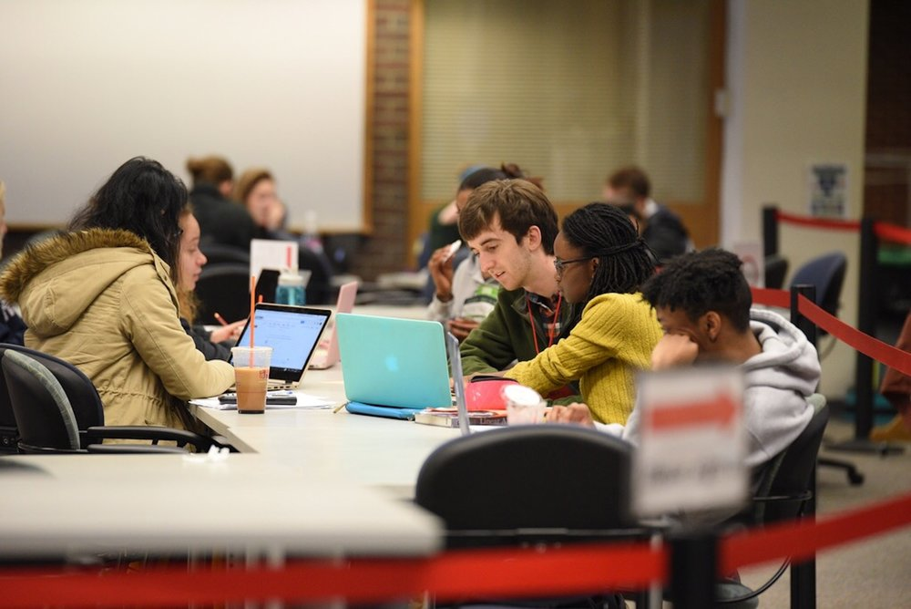 The UConn Q center locates at the Level 1 of Homer Babbidge library. Students always come here to seek academic help from peers. (Zhelun Lang/The Daily Campus)