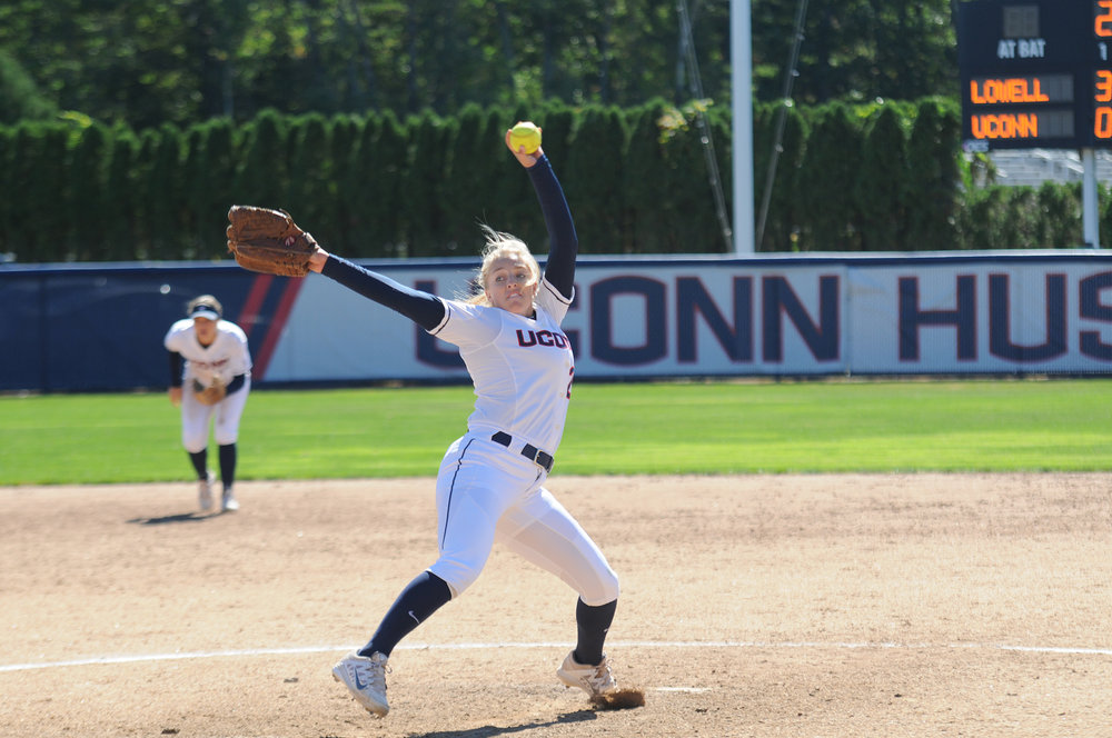 UConn's Katie Koshes, number 22, pitches during the Huskies game against Hofstra on Wednesday April 5.  (Sarina Garcia/ The Daily Campus)