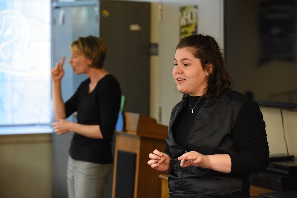 Hayden Kristal teaches UConn students American Sign Language in the Rainbow Center on Wednesday. This highly interactive, variable and hilarious workshop also fosters a group discussion about Deaf culture, intersectionality, accessibility and more.