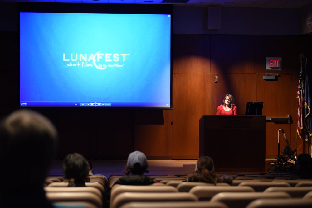 Students and faculty watch films from the annual LUNAFEAST film festival in Konover Auditorium on Thursday, April 6th. LUNAFEST is a traveling film festival of award-winning short films by, for and about women. (Zhelun Lang/The Daily Campus)