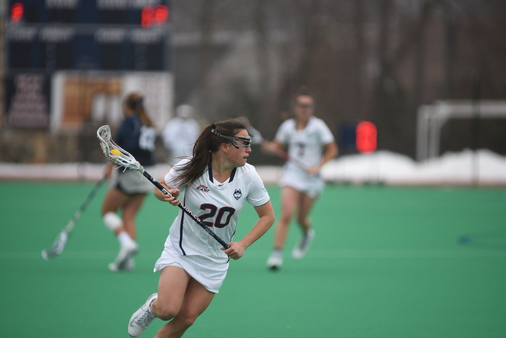The Women's Lacrosse team lost to the Georgetown Hoyas 14-6 on March 25, 2017 bringing their record to 3-6. Their next game is away against Denver. (Charlotte Lao/The Daily Campus)