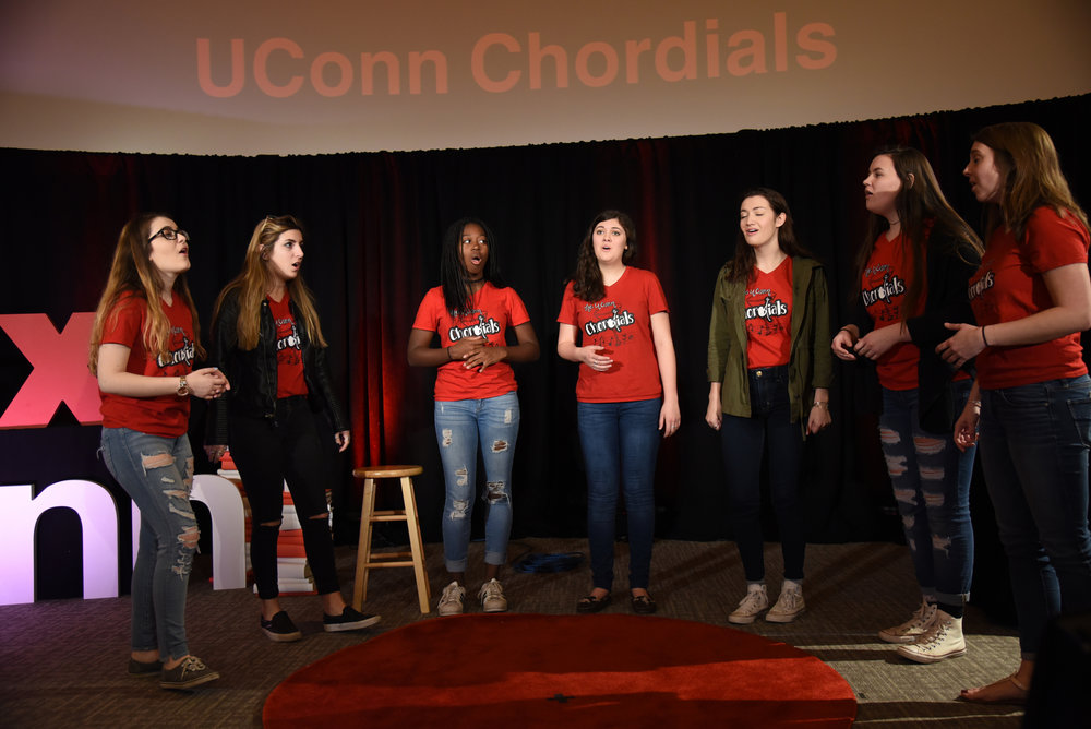 The UConn Chordials perform during TEDxUConn in Laurel Hall on Sunday, April 9, 2017. (Charlotte Lao/The Daily Campus)