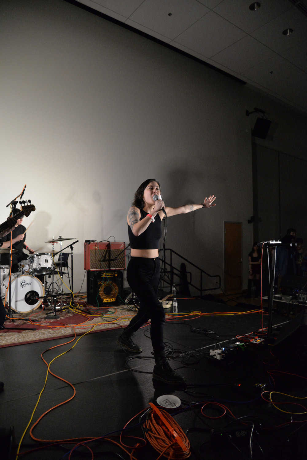 Michelle Zauner, frontwoman for Japanese Breakfast performs during the WHUS Radio Spring Fling concert Saturday evening. (Amar Batra/The Daily Campus)