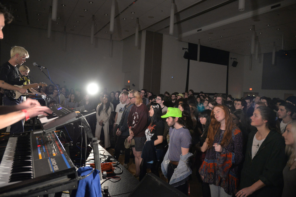 Headliner Porches performs during the 2017 Spring Fling hosted by WHUS in a packed Student Union Ballroom on Saturday, April 8, 2017. (Amar Batra/The Daily Campus)