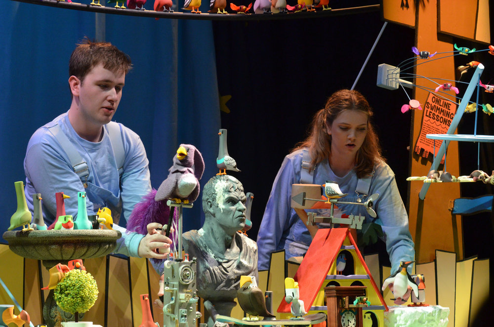 Families gather the at Ballard on Saturday, April 8, for a performance of 100 Birds presented by UConn's Puppet Arts program. The play was written by John Cody '17, along with Katayoun Amir-Aslani '18. (Akshara Thejaswi/The Daily Campus)