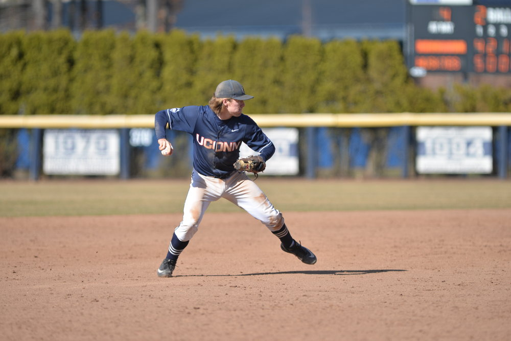 Willy Yahn fields a ground ball during UConn's weekend sweep over Memphis at J.O. Christian Field. (Amar Batra/The Daily Campus)