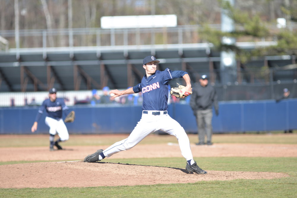 UConn's Tim Cate was dealing in Game 1 of the series on Saturday. He went seven innings giving up two runs while striking out 10. (Amar Batra/The Daily Campus)