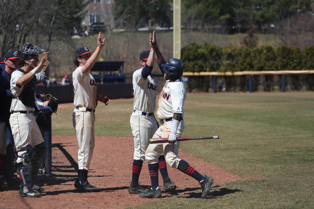 There's a lot to celebrate in Storrs. The baseball team is 19-10 and 6-0 in conference play for the first time since they were members of the Yankee Conference. (Amar Batra/The Daily Campus)
