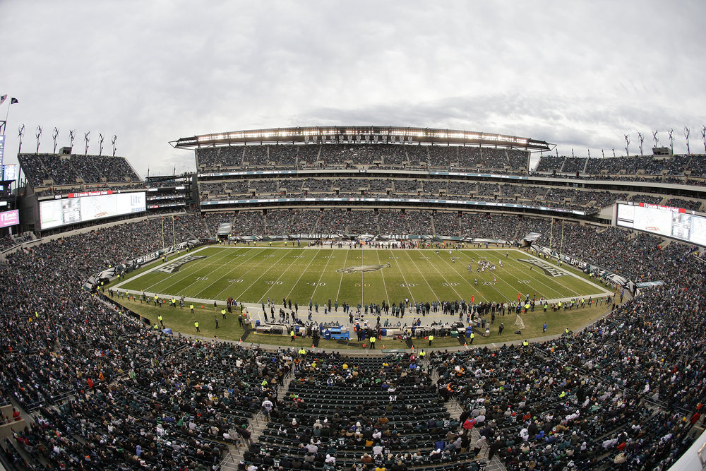 This Sunday, Nov. 22, 2015, file photo shows a general view of Lincoln Financial Field during the second half of an NFL football game between the Philadelphia Eagles and the Tampa Bay Buccaneers, in Philadelphia. 2026 World Cup soccer games could be played in a number of modern stadiums across North America, including Lincoln Financial Field. (AP Photo/Matt Rourke, File)
