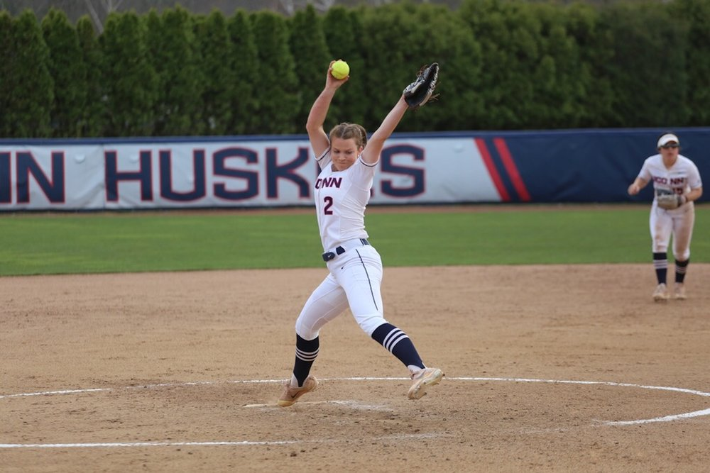 UConn pitcher Jill Stockley lets loose a pitch during Tuesday afternoon's game against Boston College at Burrell Family Field in Storrs. (Tyler Benton/The Daily Campus)