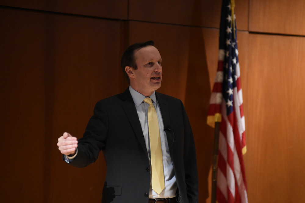 "U.S. Senator Chris Murphy talks his new foreign policy proposal, ""Rethinking the Battlefield"" Konover Auditorium, Dodd Center on Tuesday, April 11, 2017. (Jason Jiang/The Daily Campus)"