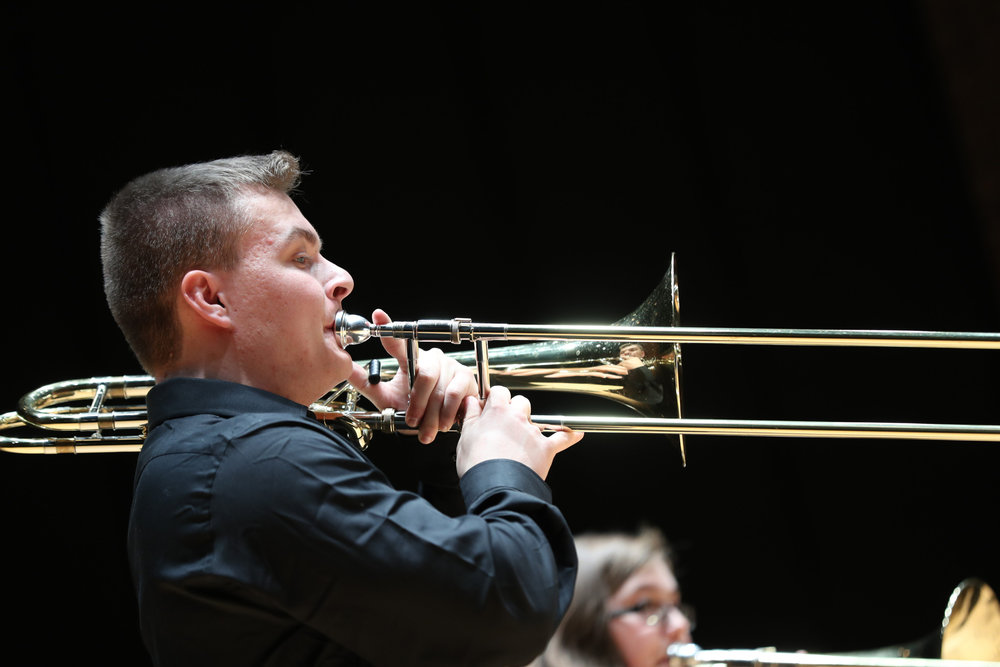 "A member of the Five Guys, Valves and Slides Brass Quintet performs ""Sonata from Die Bankelsangerlieder"" during the UConn Chamber Ensemble Recital on Tuesday, April 11, 2017 in von der Mehden Recital Hall. (Owen Bonaventura/The Daily Campus)"