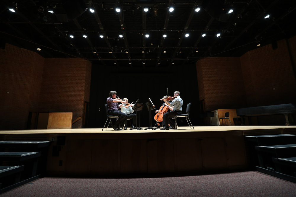 "Osiris String Quartet performs the Allegro movement from ""String Quartet No. 7, op. 58, no. 1 in F major"" by Ludwig von Beethoven at the UConn Chamber Ensemble Recital on Tuesday evening. (Owen Bonaventura/The Daily Campus)"