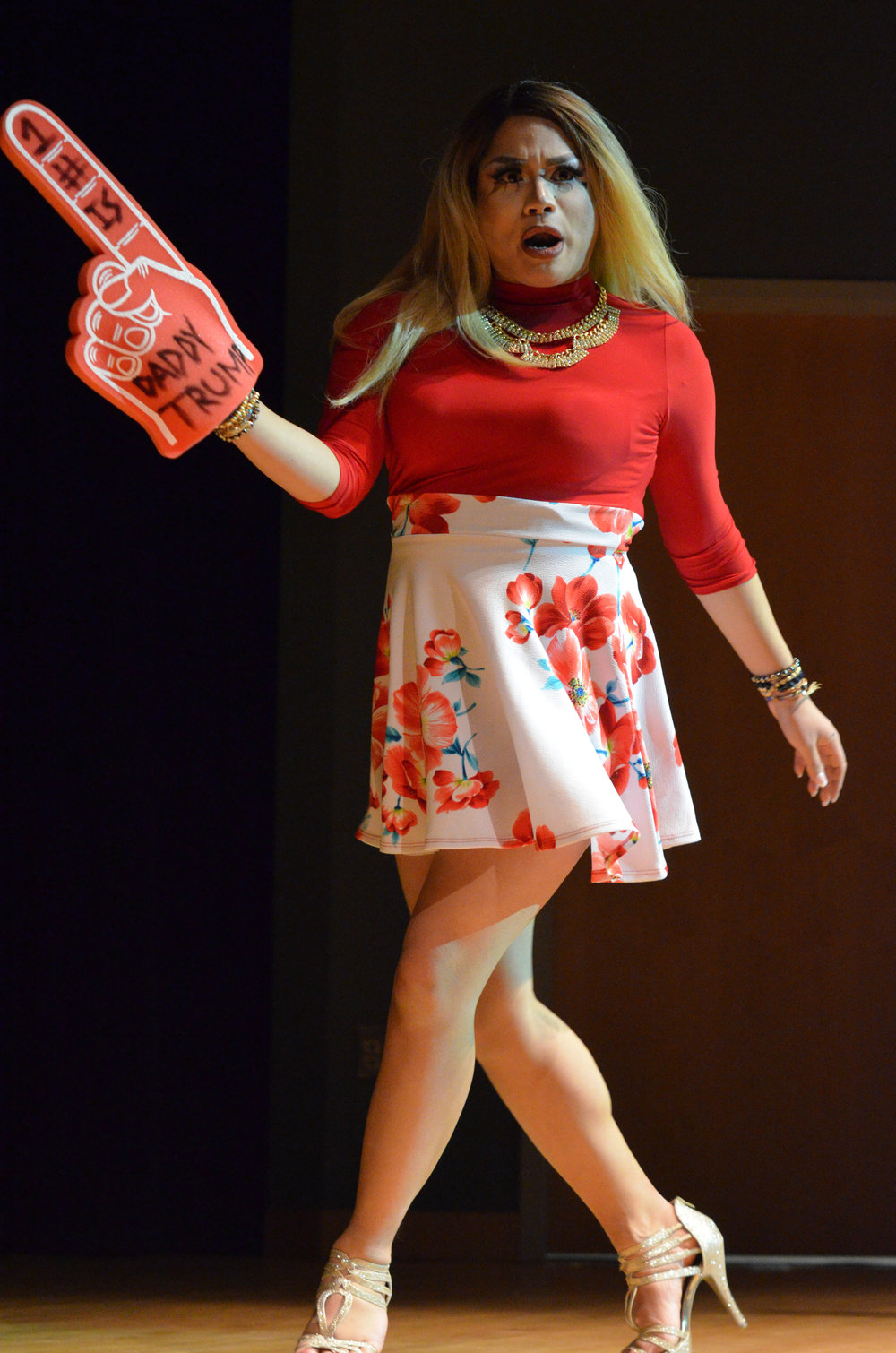 "Hazel Berry-Rose performs a rendition of P!nk's ""Stupid Girls"" during the annual drag show on Tuesday evening. (Akshara Thejaswi/The Daily Campus)"