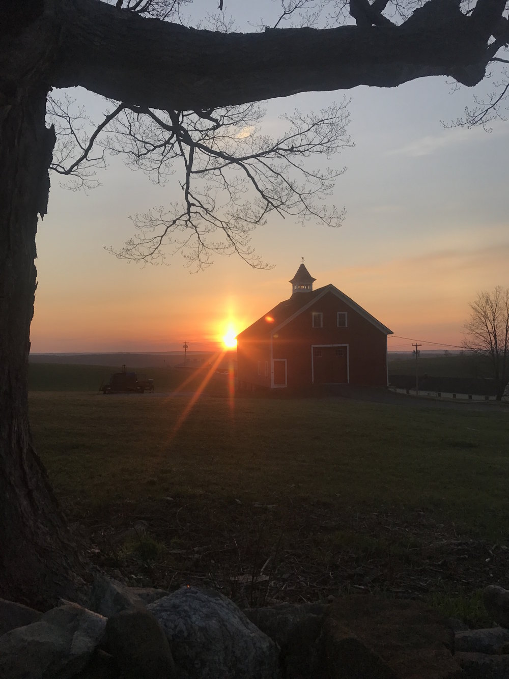 The sunrise over UConn's Horsebarn Hill at 6:20 a.m. on Wednesday, April 12, 2017. The author stayed up all night to finish a photography portfolio assignment, heading home just in time for the day's sunrise. (Francesca Colturi/The Daily Campus)