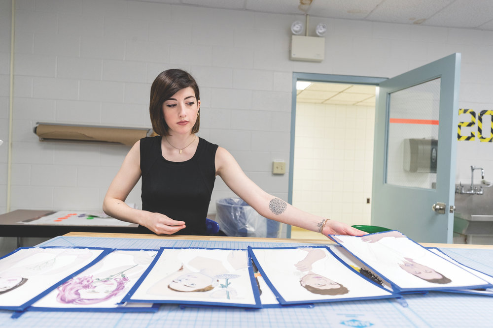 Tess Archambault is a senior illustration major whose art will be featured in the 2017 BFA Art Show taking place Thursday, April 13 from 6 to 8 p.m. at the ArtSpace Gallery in Willimantic. (Owen Bonaventura/The Daily Campus)