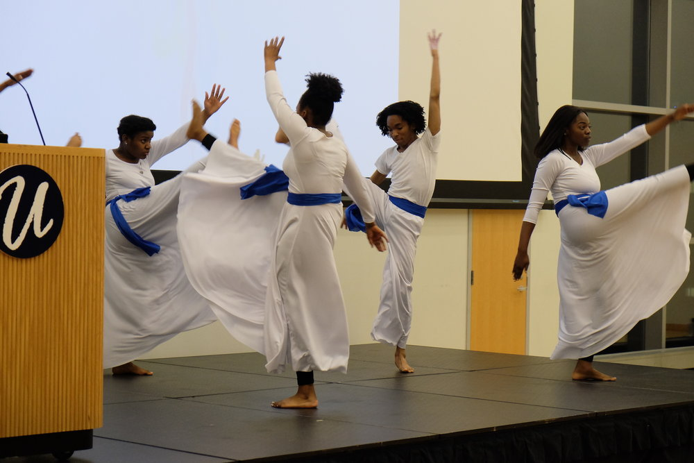 "The Praise Dance Ministry Performance danced to ""Raise Up"" by Andra Day. (Jon Sammis/The Daily Campus)"
