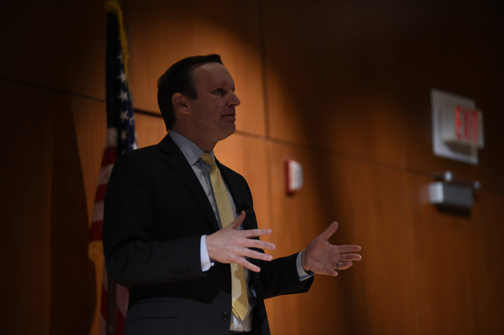 "U.S. Senator Chris Murphy takes his new foreign policy proposal, ""Rethinking the Battlefield"" to Konover Auditorium, Dodd Center on Tuesday April 11, 2017. (Jason Jiang/The Daily Campus)"