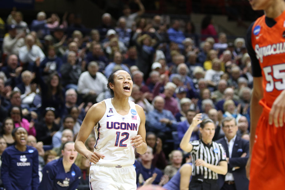 Saniya Chong celebrates during the Huskies 94-64 victory over the Syracuse Orange on Monday, March 20, 2017 at Gamble Pavilion to advance to their 24th straight Sweet Sixteen. (Jackson Haigis/The Daily Campus)