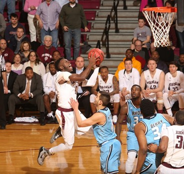 Guard Antwoine Anderson goes up for a shot in a game against Rhode Island. Anderson announced his commitment to UConn for the 2017-18 season, where he will play as a graduate transfer. (Photo courtesy fordhamsports.com)