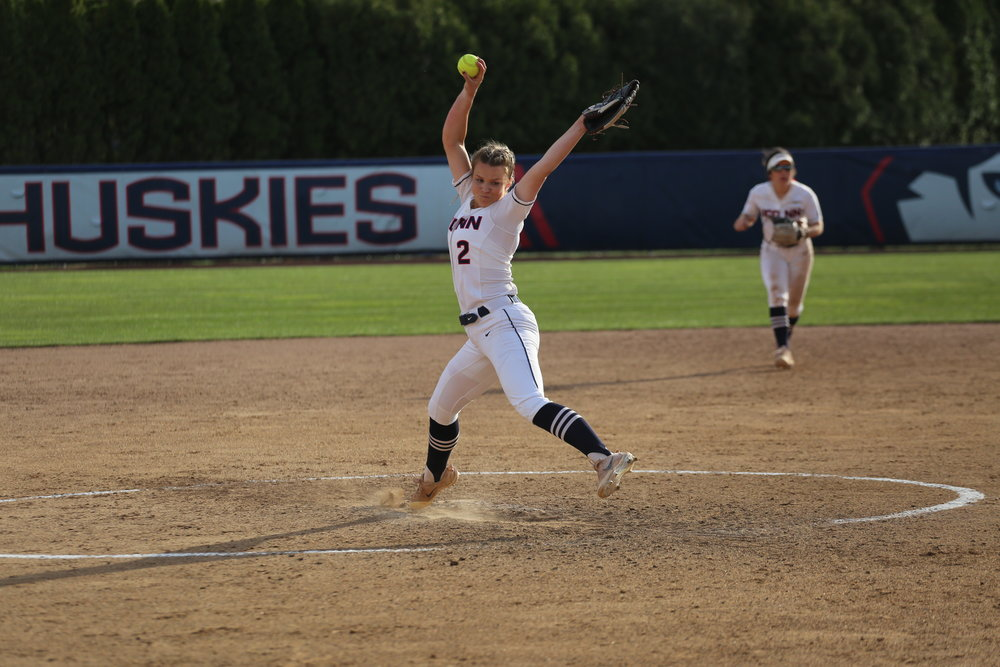 Sophomore pitcher Jill Stockley delivers a strike during UConn's game against the Boston College Eagles Tuesday afternoon at Burrill Family Field in Storrs, CT.  The Huskies held on to their 3-2 lead to win the game, moving their season record to 14-19. (Tyler Benton/The Daily Campus)
