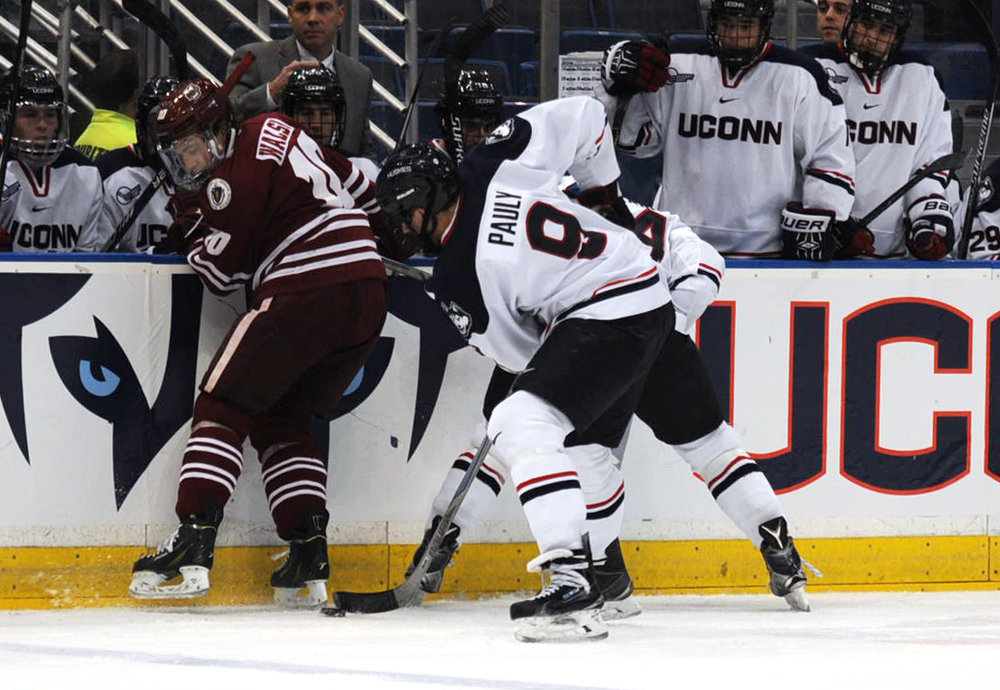 UConn and UMass both play in the Hockey East Conference, regarded as the best college hockey conference in the country. In this matchup, UConn fell 4-2 to UMass on Nov. 6, 2015. (File photo)