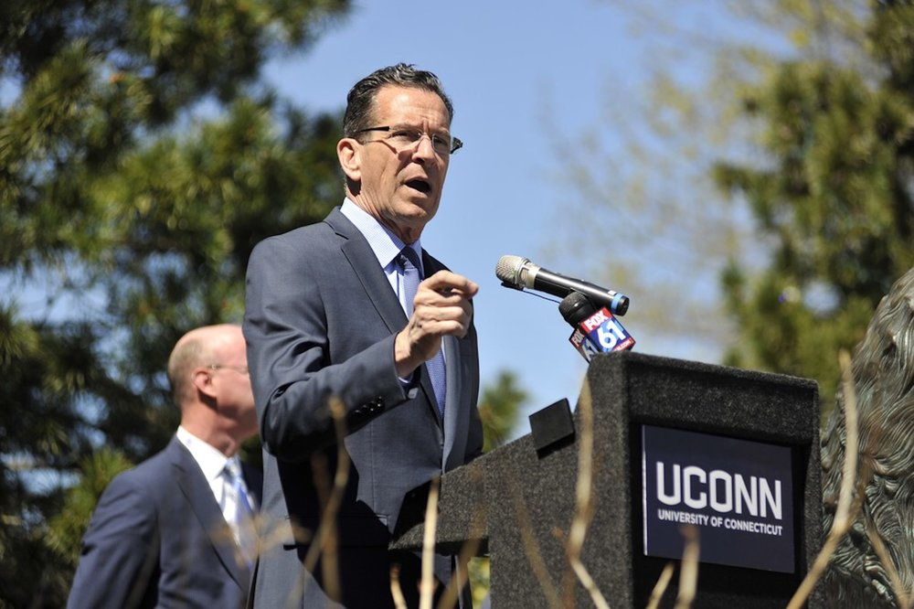 Governor Dannel Malloy visited UConn's Gampel Pavilion on Tuesday to unveil the arena's new energy-saving LED lighting system. The lighting system was made possible by collaboration with Eversource. (Jason Jiang/The Daily Campus)
