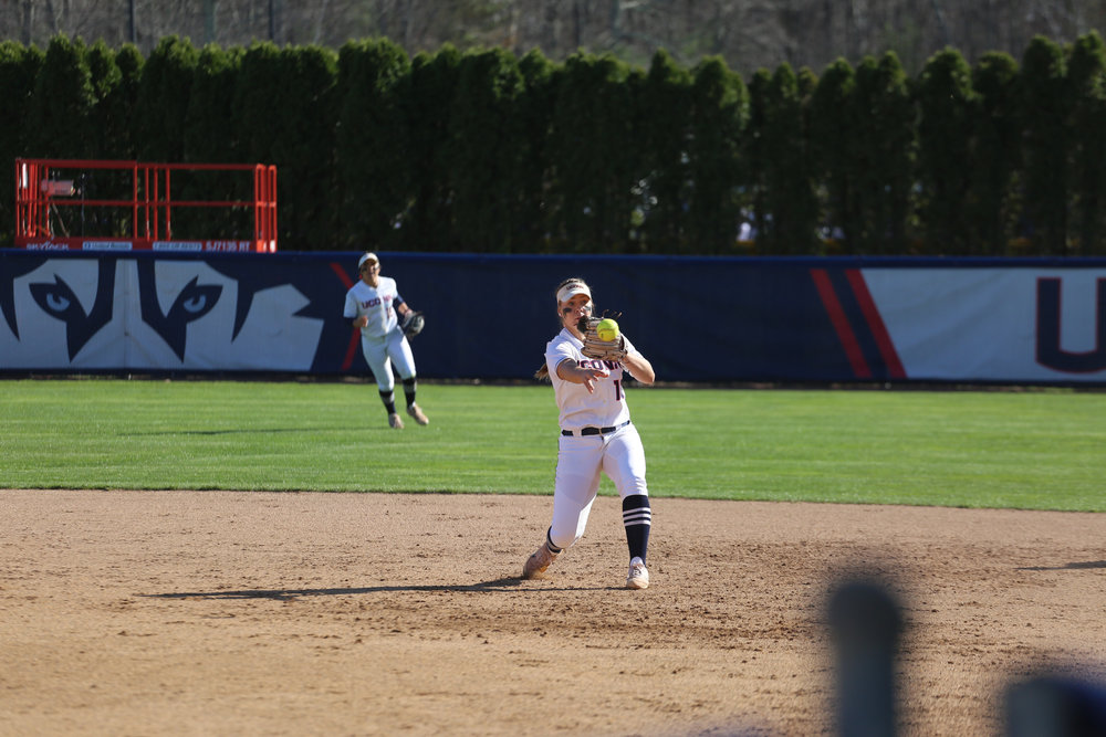Carli Cutler fields a ball during the Huskies over 7-1 victory over UMass on Tuesday afternoon. (Tyler Benton/The Daily Campus)