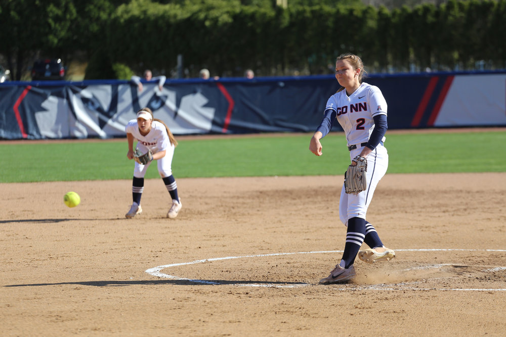 Jill Stockley fires off a pitch during the Huskies 7-1 victory over UMass Amherst at Burrill Family Field on Tuesday afternoon. (Tyler Benton/The Daily Campus)