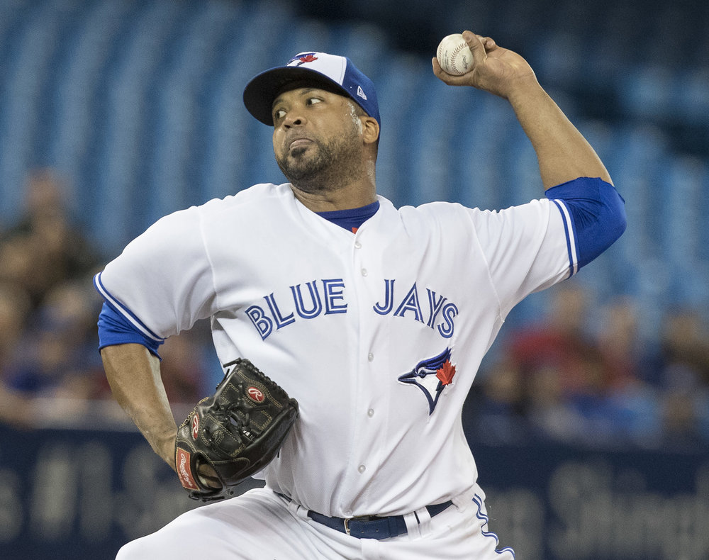 Toronto Blue Jays starting pitcher Francisco Liriano throws against the Boston Red Sox during the first inning of a baseball game Wednesday, April 19, 2017, in Toronto. (Fred Thornhill/  AP)