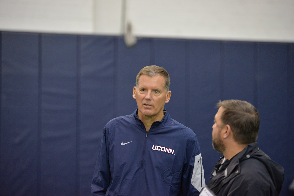 Randy Edsall has returned as the head coach of UConn football with a whole host of new coordinators.  They debuted as the new staff on Friday, April 20, 2017 at Renschler Field.  (Amar Batra/ The Daily Campus)