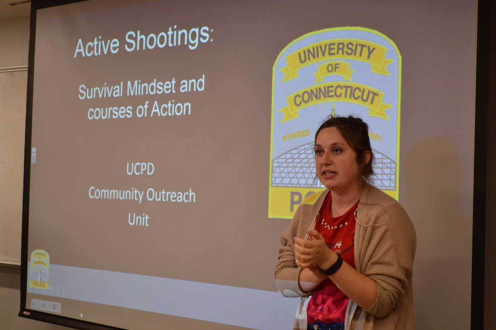The student organization UConn Against Gun Violence held a presentation about active shooter survival on April 20. The photo is from the last event in September and is of Elizabeth Charash who is the President of UConn Against Gun Violence and also a staff writer for the DC. (Olivia Stenger/The Daily Campus)
