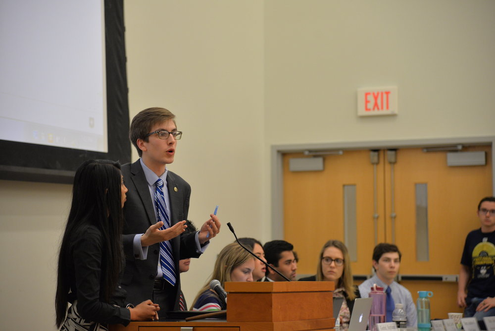 The Undergraduate Student government holds it's first meeting of the 2017-2018 school year where the new administration and new senators were sworn in. (Amar Batra/The Daily Campus)