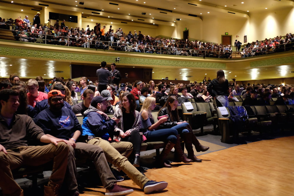 Bob Saget performed part of his new comedy routine on Friday, April 21. Jorgensen Theatre is packed and anticipating the Full House Dad to show up on stage. (Jon Sammis/The Daily Campus)