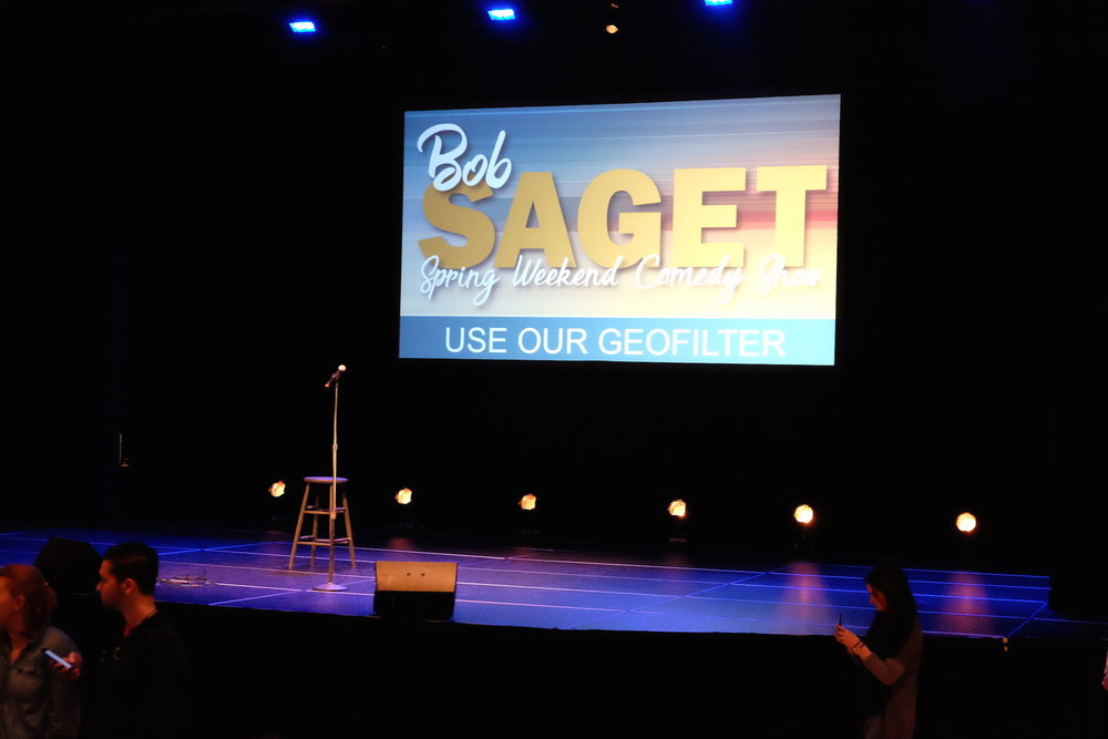 "Saget started his show with remarks relating to his memories on ""Full House,"" and the new Netflix series, ""Fuller House."" (Jon Sammis/The Daily Campus)"