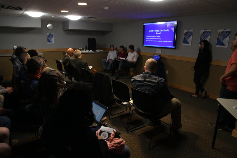 UConnPIRG held a panel in appreciation of open educational resources (OERs) and the UConn professors who utilize them. (Ginikachi Anosike/The Daily Campus)