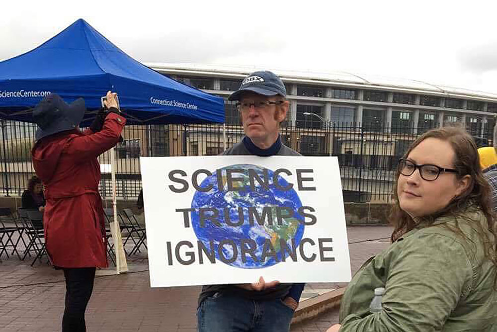 Particpant in the March for Science movement in Hartford celebrating the utility of science in civic life given that science has helped improve people's health, produced technology that has improved people's quality of life and builds whole new economies. (Zhelun Lang/The Daily Campus)