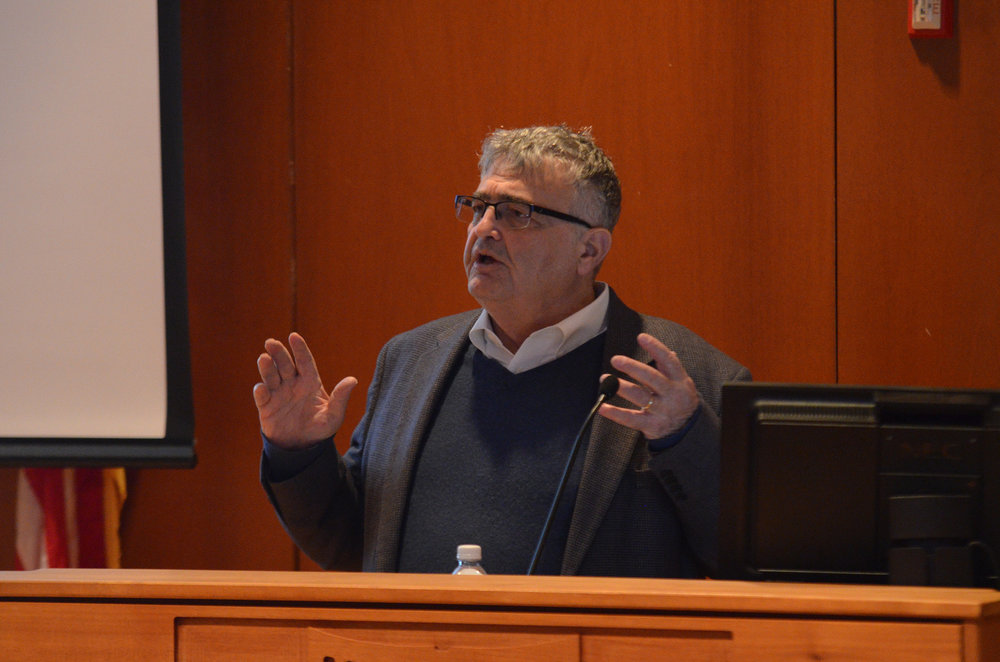 Dr. Samuel D. Kassow describes the efforts taken to preserve Jewish history and resist Nazi oppression in a lecture hosted by UConn's Center for Judaic Studies at Konover on Monday, April 24. Professor Kassow is a historian and professor at Trinity College.  (Akshara Thejaswi/The Daily Campus)
