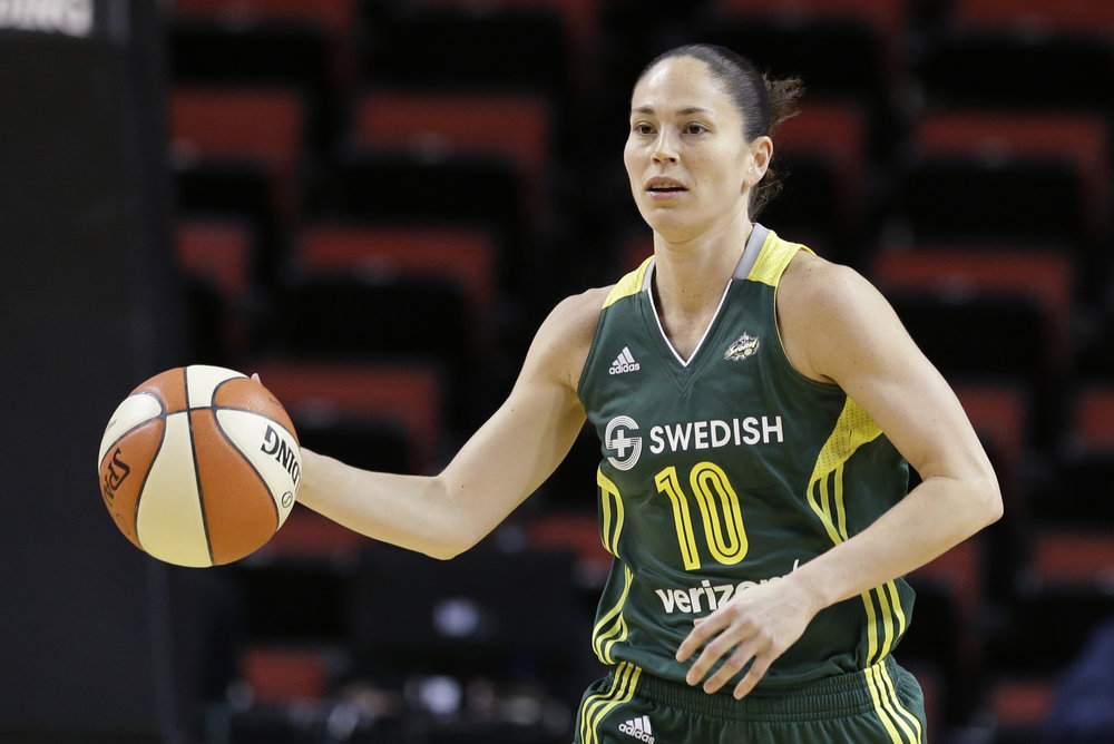 In this May 4, 2016, file photo, Seattle Storm's Sue Bird moves down court against the Phoenix Mercury in a WNBA preseason basketball game in Seattle. (Elaine Thompson, File/AP)
