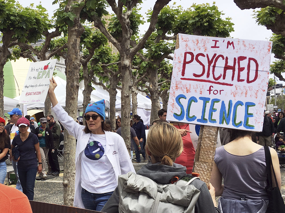 Demonstrators in support of the March for Science rally in downtown San Francisco Saturday, April 22, 2017. (Olga Rodriguez/AP)