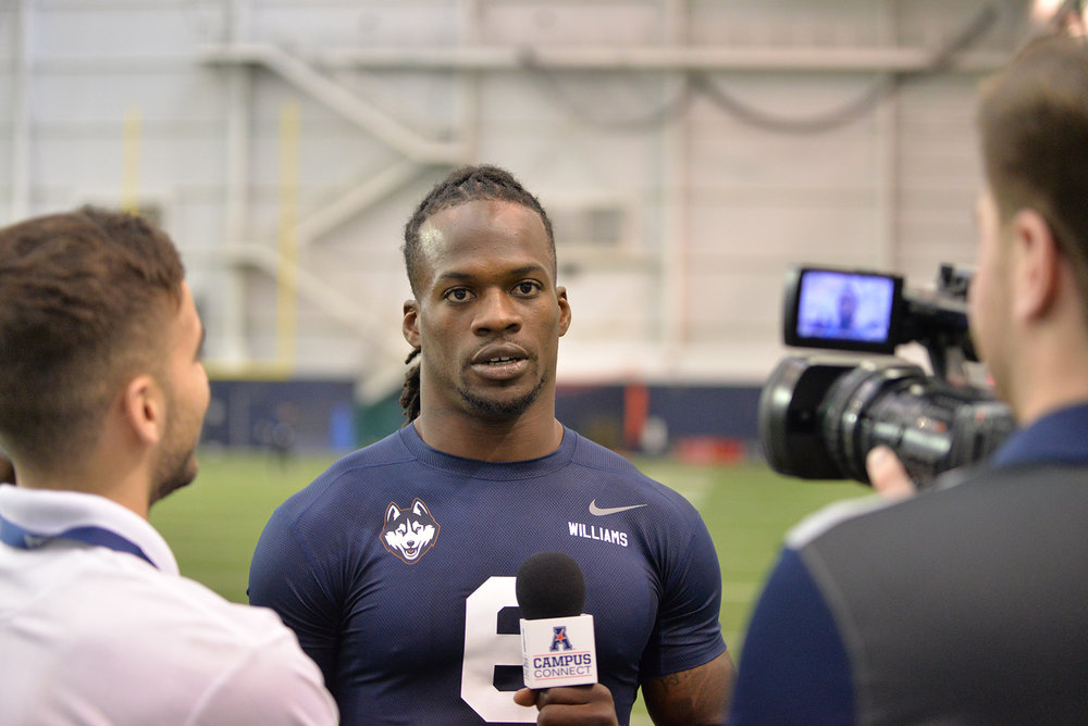 Pictured: Jhavon Williams, UConn defensive back at UConn Pro Scouting Day in Shenkman Training Center March 22, 2017. (Amar Batra/ The Daily Campus)